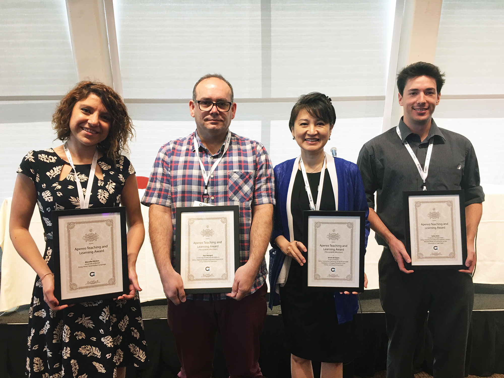 Left to right in the photo: Marcella Oliviero, Raul Mengod, Jennie De Gagne, and Stephan Britz Not present in the photo: Andrea Zhok, Leanne Scott, Alexander Nagurney, Patrick Smith, and Carlos Turro (Photo taken in the Award Recognition Ceremony in Open Apereo 2016 Conference in New York Univeristy, New York City, USA)